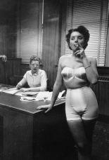 lingerie model smoking