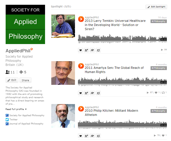 Applied philosophy podcasts on SoundCloud