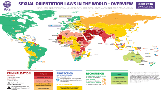 World map of sexual orientation laws by the International Lesbian, Gay, Bisexual, Trans and Intersex Association (ILGA)